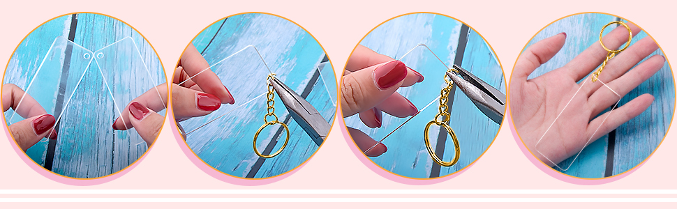 It's easy to connect the key rings with chain, acrylic blanks as the picture show