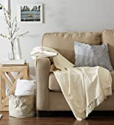 White chenille throw blanket on a couch