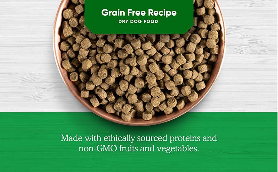 Grain Free Recipe Dry Dog Food, made with ethically scored non-GMO ingredients
