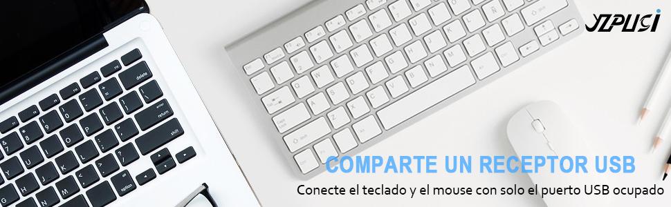 Wireless Inalámbricos Español Teclado y Ratón, YZPUSI Ultra Slim Wireless QWERTY Español Teclado per Windows PC, Portátil silencioso Raton