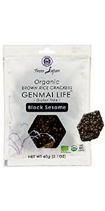 Muso From Japan Organic Brown Rice Crackers Genmai Life Gluten Free Black Sesame