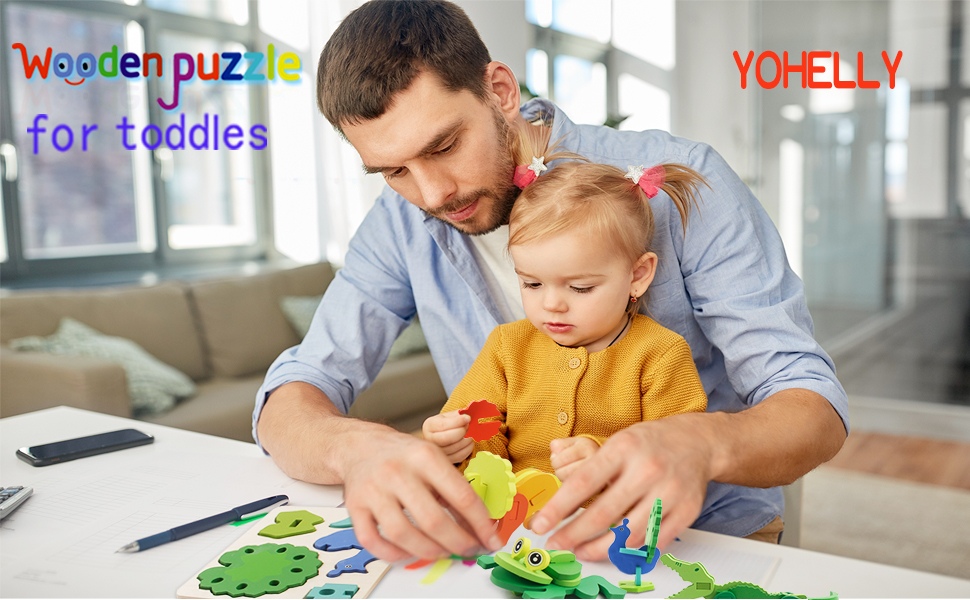 The wooden jigsaw is a great educational toy for toddlers
