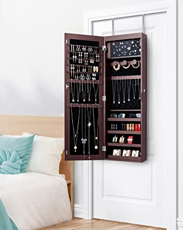 Free Standing Full Length Mirror + Jewelry Storage Cabinet 2 in 1