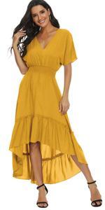 high low v neck long dress