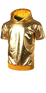 Metallic Gold Shiny Shirts Nightclub Styles Hoodies
