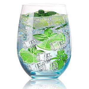 stemless wine glasses set 4
