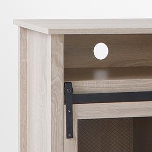 media console with barn door