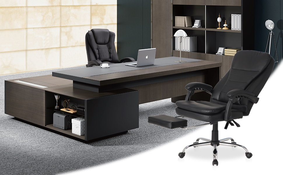 Ergonomic Executive Office Chair with Retractable Footrest