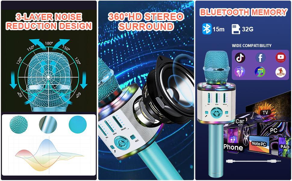 Microphone for Kids Adults Wireless Bluetooth Microphone LED Lights Speaker Karaoke Machine