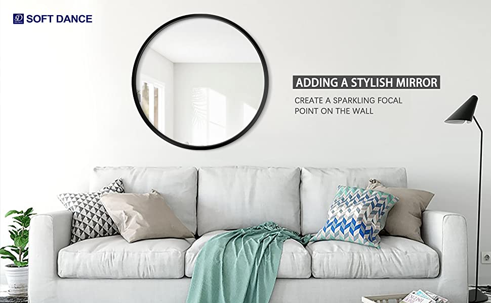 Round Wall Mirror for Wall for Living Room, Bedroom, Bathroom, Entryway