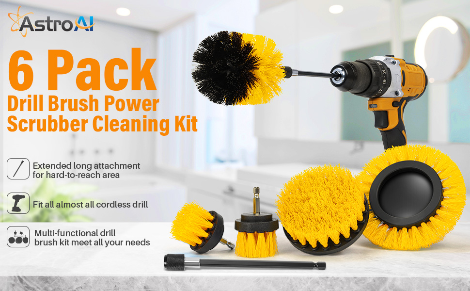 brush set for drill power scrubber cleaning for kitchen