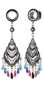 Bohemian Multicolor Crystal Tassel Dangle Ear Gauges Piercing Flesh Tunnels