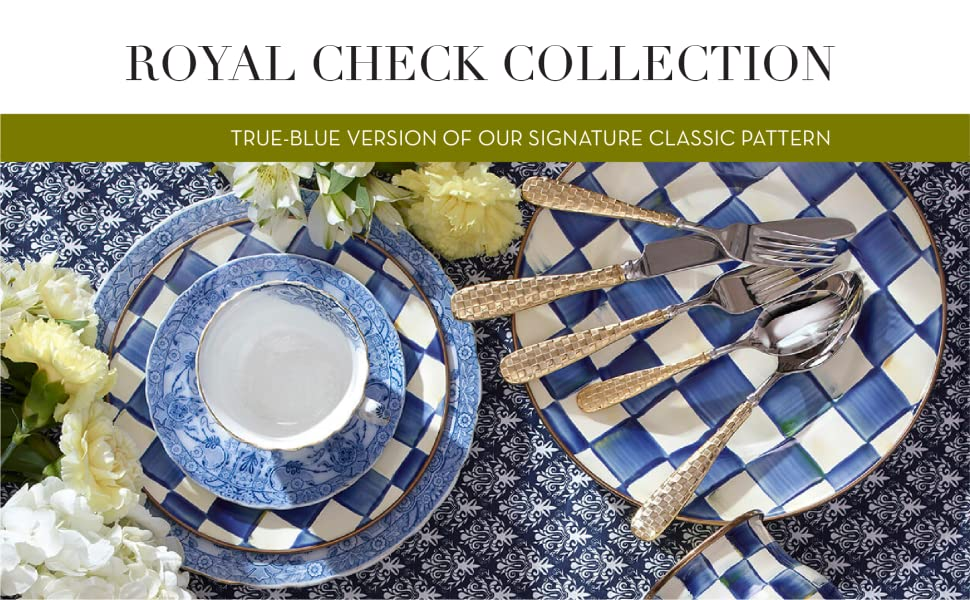 Photo of the Royal Check collection on a kitchen table with spoons and forks.