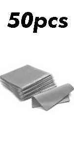 50pcs Jewelry Cleaning Cloth Gray Polishing Cloth for Sterling Silver 8x8cm