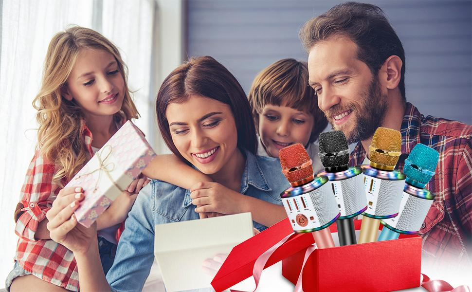 Karaoke Microphone Bluetooth Wireless, Portable Mic Speaker for Kids and Adults Home Party Birthday