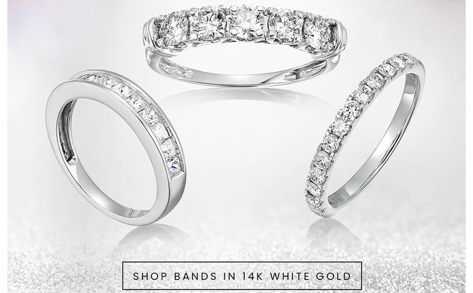 Vir Jewels Diamond Wedding Bands 14K White Gold