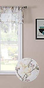 Tollpiz floral sheer valance flower print vine embroidery valances, white, set of 1 panel