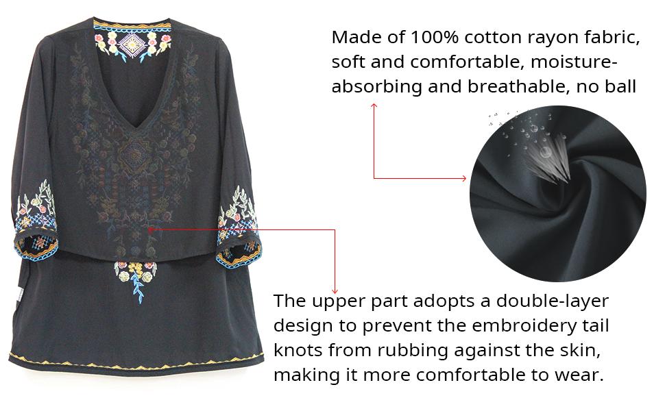 Women's Bohemian embroidered shirt