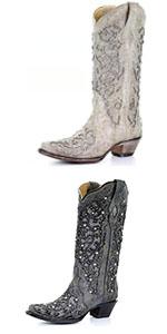 Women Glitter Inlay Rhinestones Wedding White Cowgirl Boots