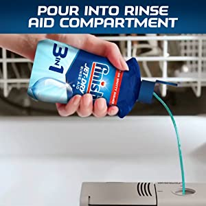Pour into rinse aid compartment