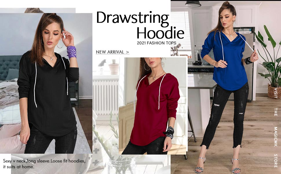 This long sleeve lounge v-neck drawstring hoodies with curved hem