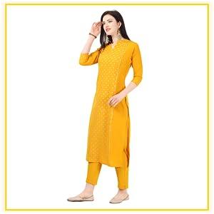 NAINVISH Women Yellow Crepe Straight Kurti with Pant Set (SD031) SPN-FOR1