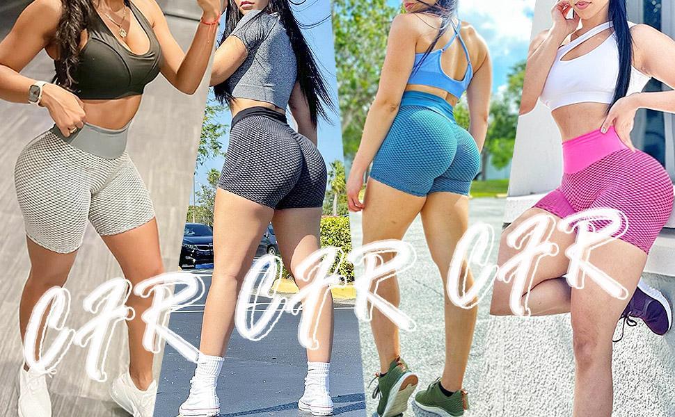 CFR Women tiktoks Workout Shorts Peach Butt Lift High Waist Anti Cellulite Scrunch Booty Push up