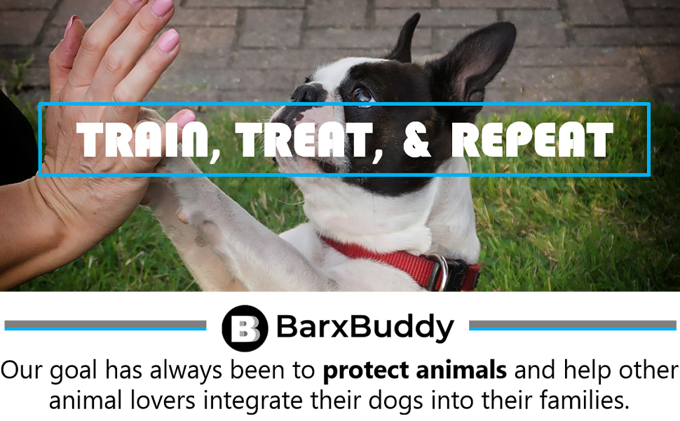 """Barx Buddy's Slogan: """"Train, Treat, and Repeat"""" on the top,  and the brand mission on the bottom"""