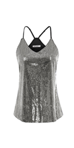 Women Spaghetti Strap Tank Tops Summer Sequin Party Club Camisole Vest