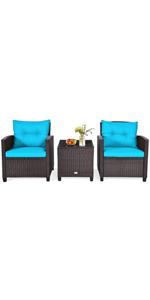 3 Piece Patio Furniture Set Rattan Wicker Bistro Sofa Set