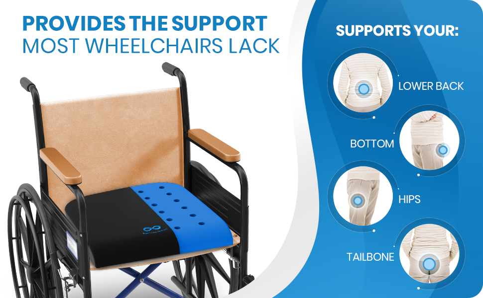 Wheelchair seat cushion supports your lower back, bottom, hips, and tailbone