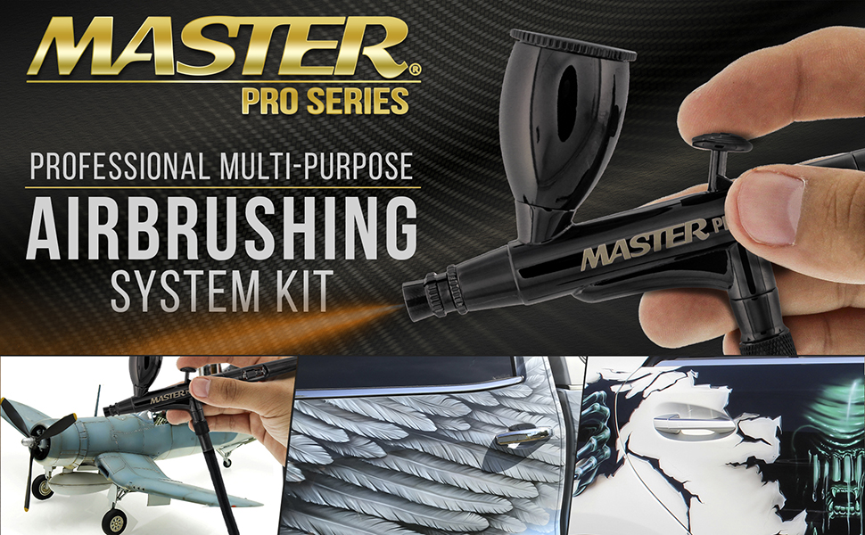 Master Airbrush Cool Runner II Dual Fan Air Compressor System Kit with Master Pro Plus Airbrush
