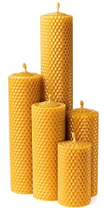 5 beeswax pillar candles