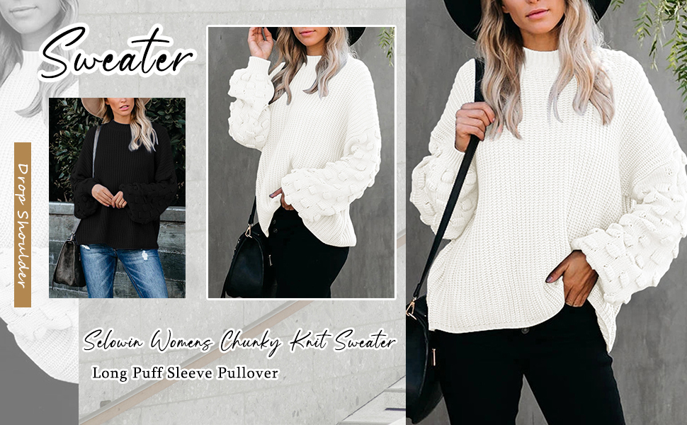 Womans Casual Crewneck Loose Puff Sleeves Chunky Knitted Pullover Sweater