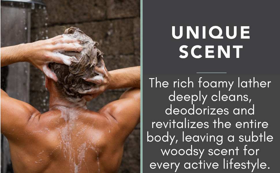 The rich foaming lather deeply cleans, deodorizes and revitalizes the entire body