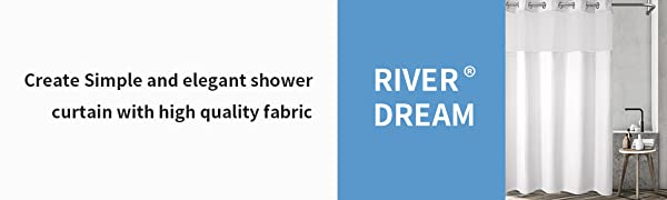 River Dream shower curtain with snap in liner