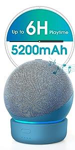 Base de bateria GGMM D4 base para Alexa Echo Dot de 4ª geração, carregador de bateria portátil