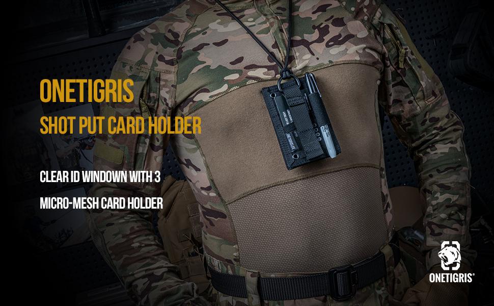 Tactical ID Card Holder Hook,Credit Card Organizer Neck Lanyard Key Ring Tactical Badge Holder