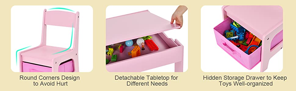 children activity table with storage, detachable tabletop, chair with storage drawer