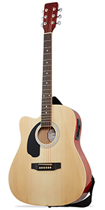 Natural Left Handed Dreadnought Cutaway Acoustic Electric Guitar