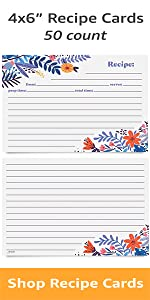 4x6in Recipe Cards 50 count