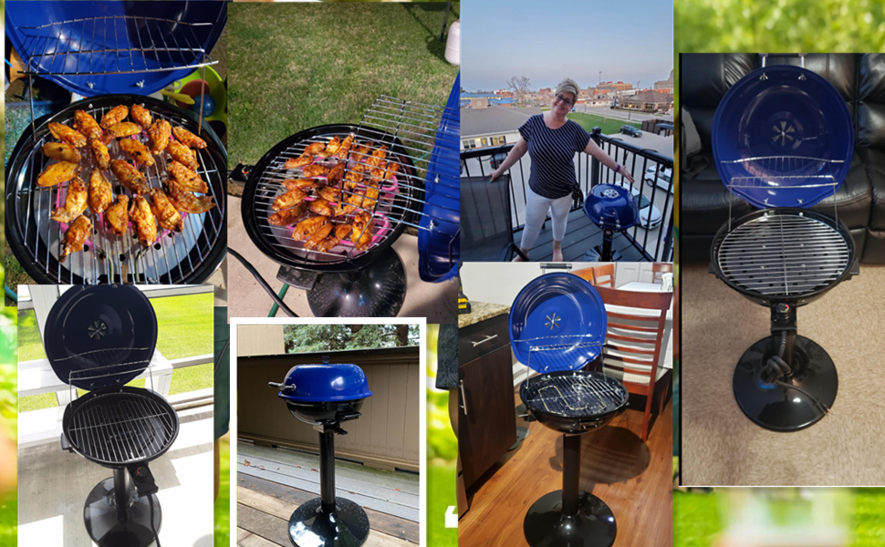 Grill Indoor/Outdoor Electric BBQ Grill 240'' Nonstick Removable Stand Grill 1600W