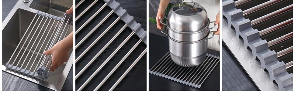 detail of dish drying rack