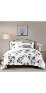 1-Grey Sophia Floral Cotton Slub 5-Piece Comforter Set with Decorative Pillows