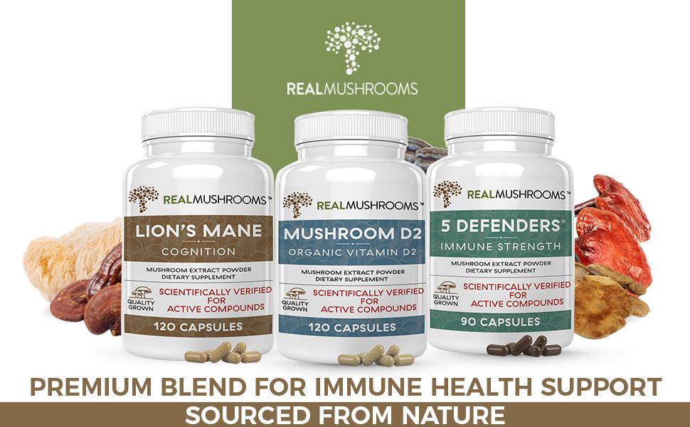 lions mane, vitamin D2 mushroom and 5 defenders mushroom extract capsules