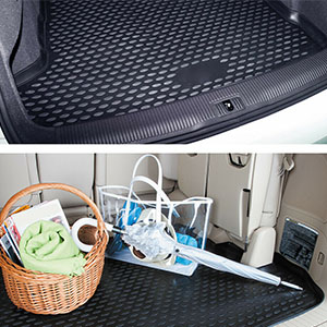 Accessories Mats Floor Liner Car Cargo Trunk Cover Protector Rubber Weather Carpet protector black