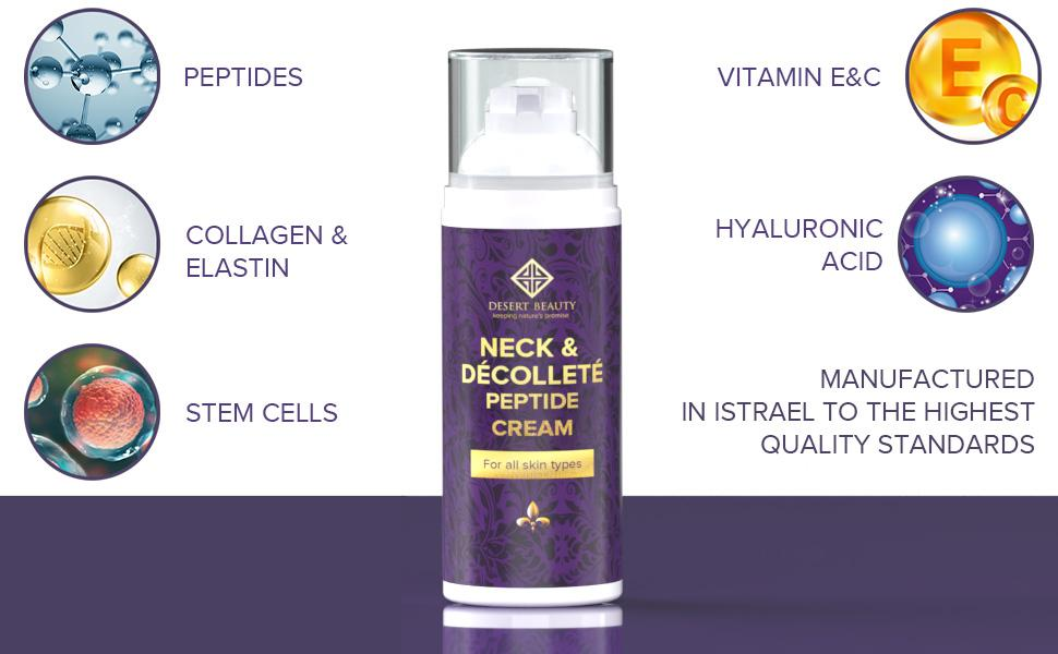 Neck Firming Cream, peptides, collagen & elastin, hyaluronic acid