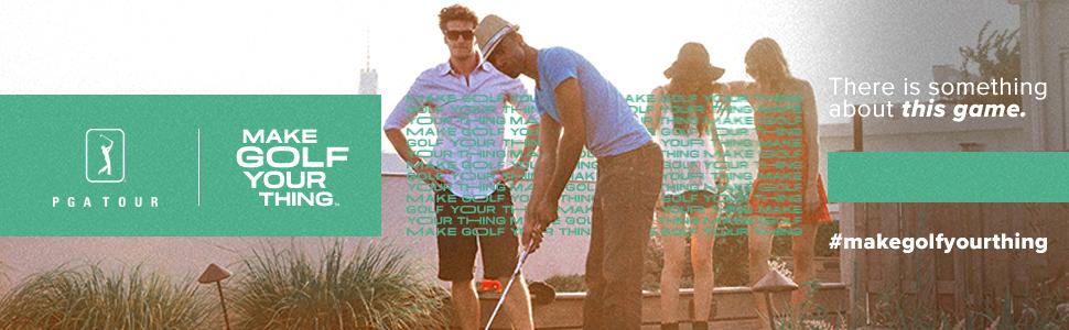 Professional golfer swinging club while wearing PGA TOUR men's golf shirt