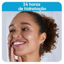 Imagem: mulher passando creme no rosto; Texto: 24 horas de hidratação