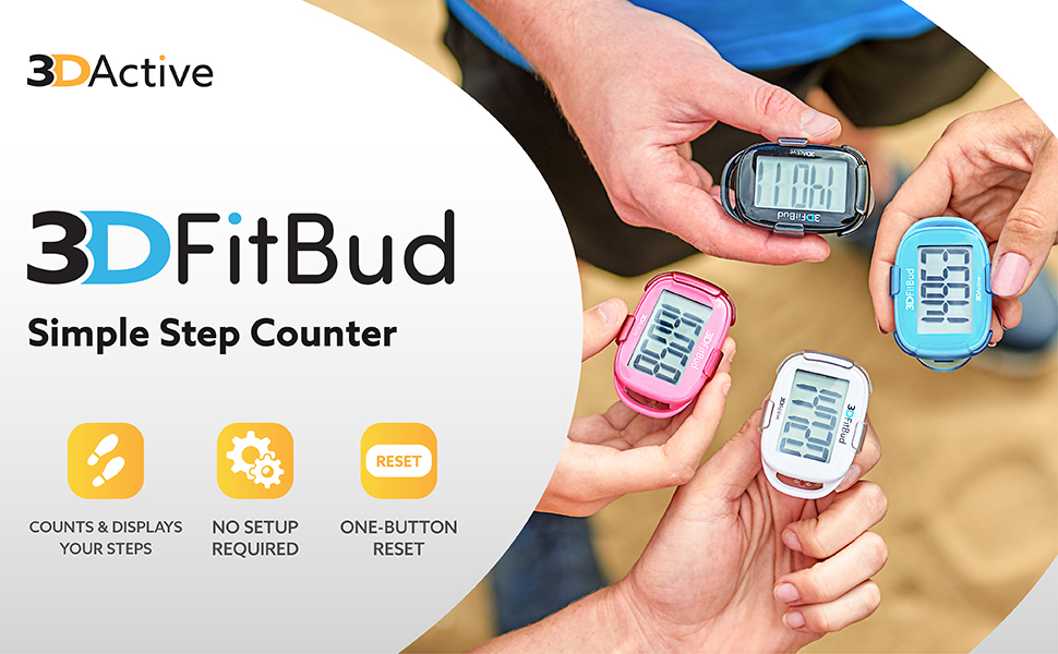 3DFitBud Simple Step Counter. Displays your steps. No setup required. One button reset.